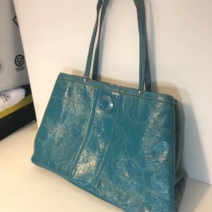 Coach turquoise blue purse